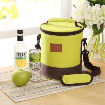 保温保冷バッグ ライトグリーン 丸い型ランチバッグ