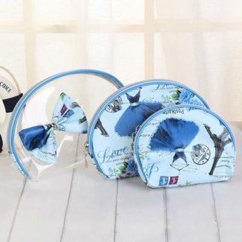 化粧ポーチ 透明  3点セット「トモウ」オリジナル製作 バッグINバッグ リボン バニティケース コスメポーチ レディース 小物入れ収納ポーチ