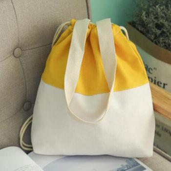 手提げバッグ イエロー ナップサック 巾着袋「トモウハンドバッグ」製作 引きひも袋 小物いれ 収納ポーチ