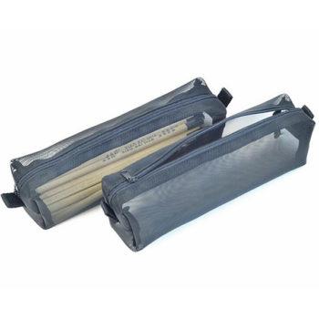 透明ペンケース ブラック ナイロン製 ペンポーチ メッシュ 「トモウ」製作 シンプル 無地 筆入れ 小物入れ