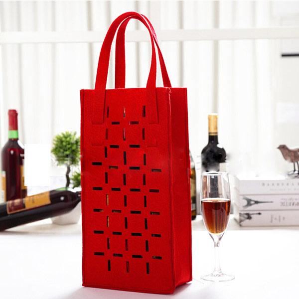 ワインバッグ フェルト素材「トモウ」製作 2本入り ワインボトルカバー 家飾り 結婚式 記念用 シングルボトルワイン