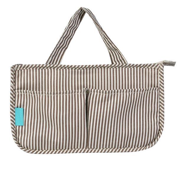 レディースバッグインバッグ ストライプ 「トモウ」オリジナル製造 収納バッグ 化粧バッグ 防水インナーバッグ レード 価安仕入れ