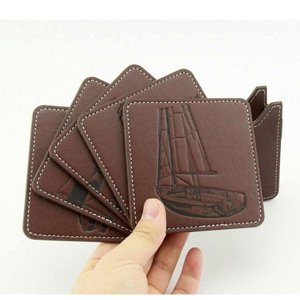 本革 刻印コースター ブラウン トモウハンドバッグ製作 5枚セット 高級 オシャレ 防水 防塵 家庭用