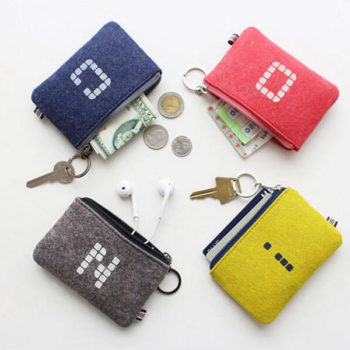 フェルト製 小銭入れ キーリング付き 小物入れ かわいい カード収納 メンズ コインケース レディース