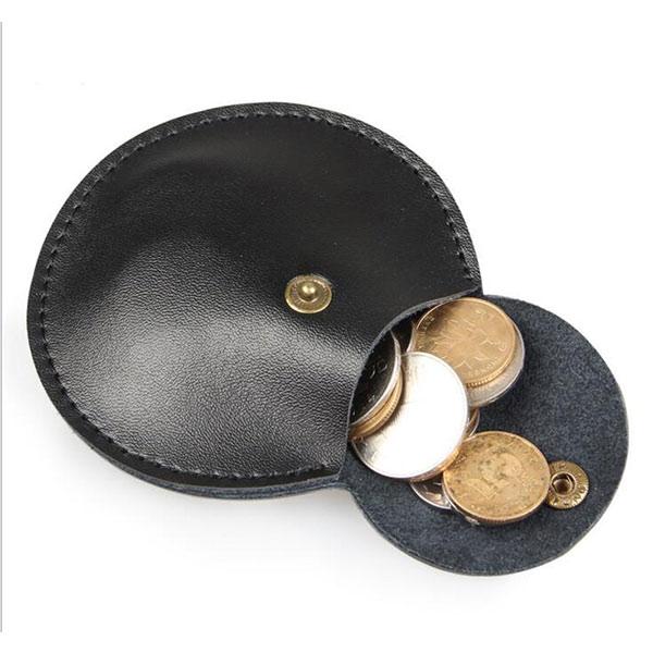 本革 ラウンド コインケース ブラック 高級 丸型 小銭入れ ミニ財布 レディース
