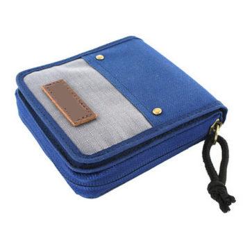 二つ折り財布 メンズ レディース ブルー 小銭入れ コインケース カードケース スポーツ ファスナ付き