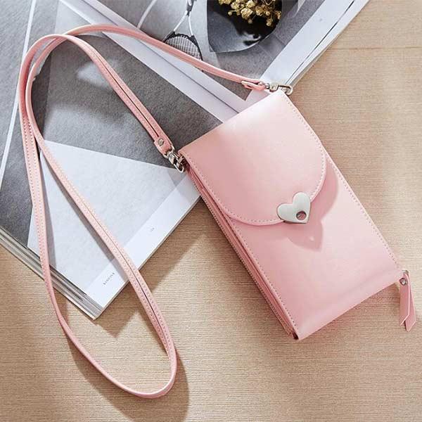 お財布機能付き ミニ財布 ピンク ショルダーバッグ スマホポーチ 斜め掛け 携帯ケース オシャレ レディース