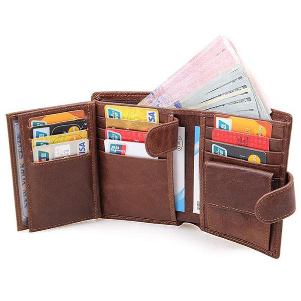 OEM本革 二つ折り 財布 メンズ 小銭入れ ブラウン カード入れ コンパクト 高級 使いやすい