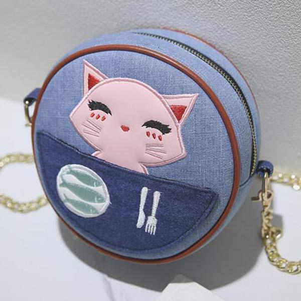 デニムチェーンバッグ 丸型 かわいい トモウオリジナル製作 レディース ショルダーバッグ