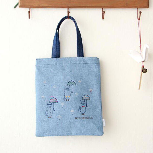 おしゃれ デニム手提げバッグトモウオリジナル製作 通学 通勤 女性用 トートバッグ 2wayバッグ