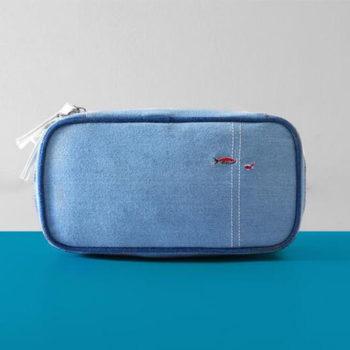 デニム製 収納ポーチ ネイビー トモウオリジナル製作 ダブルファスナーポーチ 化粧品 小物入れ