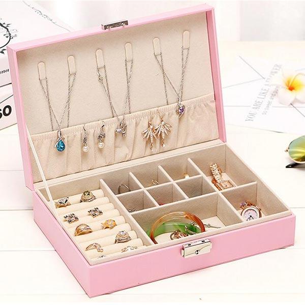 大容量 アクセサリーケース 鍵付き ピンク トモウオリジナル製作 ジュエリーボックス 収納 持ち運び クロコ 携帯用 小物入れ トレイ付き 宝石箱