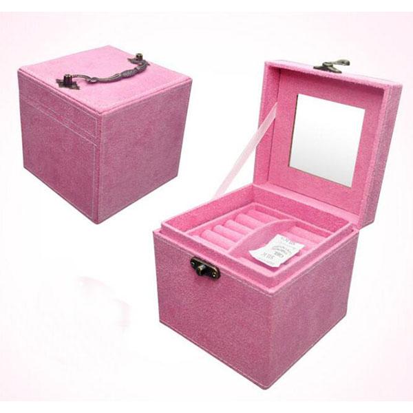 アクセサリー箱 ベロア調 3段 ミラー付 パープル トモウオリジナル製作 ジュエリーボックス 大容量 宝石箱