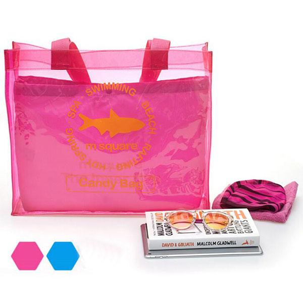 2018夏新製品 ビニールトートバッグ ピンク 透明 大容量 クリアバック がま口 レディース メンズ兼用 手提げ鞄 海 プール