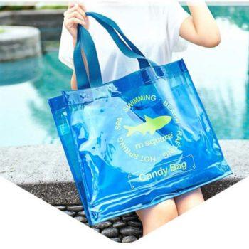 2018夏新製品 プールバッグ 透明トートバッグ ブルー ビーチバッグ がま口 レディース メンズ兼用 レジャービニールバッグ 温泉バッグ 防水 大容量