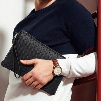 クラッチバッグ ブラック 本革 トモウハンドバッグ製作 編み込み ビジネスバッグ 個性的 高級バッグ