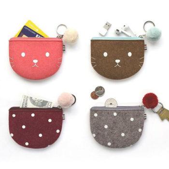 軽いウール製財布 小銭入れ用 シェルタイプ 小物入れ かわいい 鍵入れ カード収納 レディース