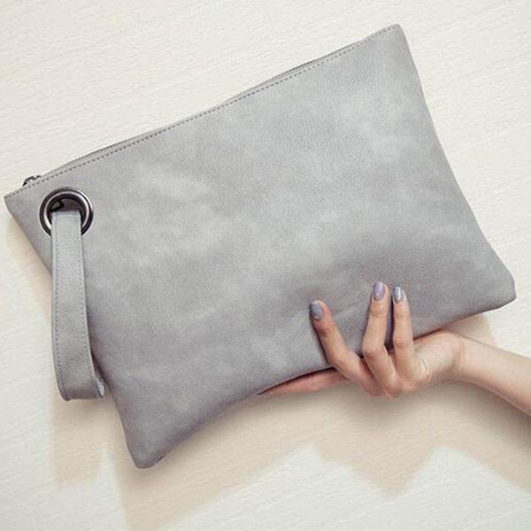 グレー クラッチバッグ PUレザー トモウハンドバッグ製作 レディース セカンドバック おしゃれ シンプル 小型バッグ
