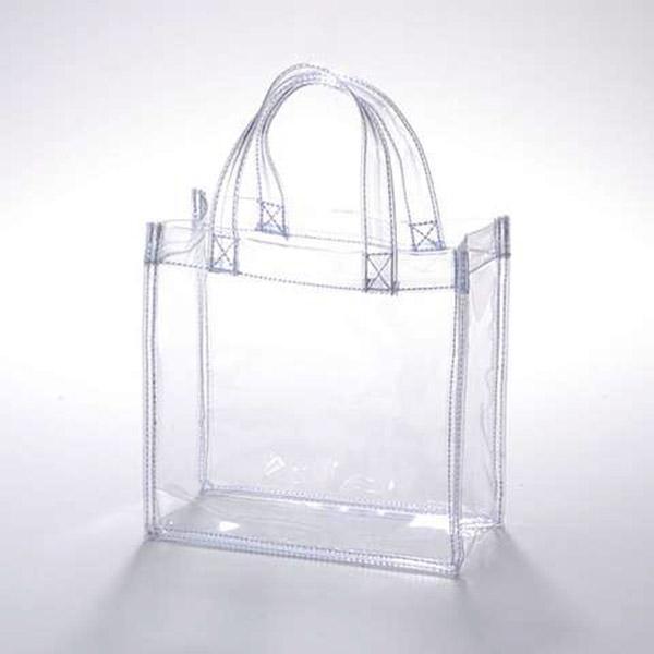 カラー 透明 ビニールトートバック 丈夫 持ち運びやすい 小売製造