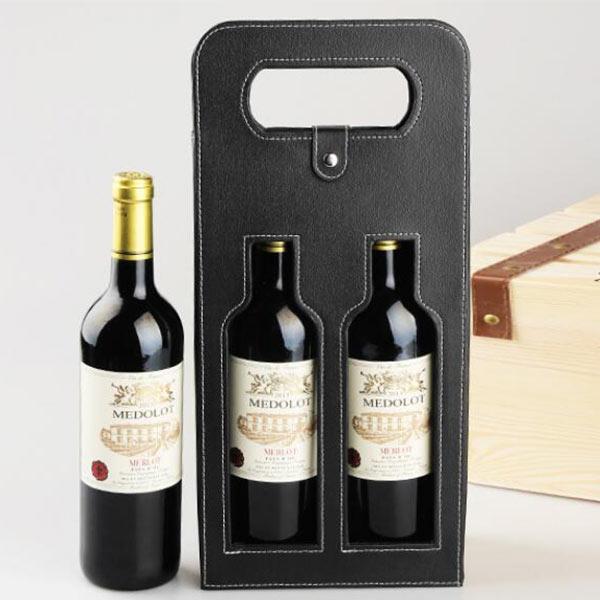 ワインバッグ ケース PU レザー ギフトバック 革 BOX 軽量 薄型 ワイン ボトルカバー 2本収納/ブラック