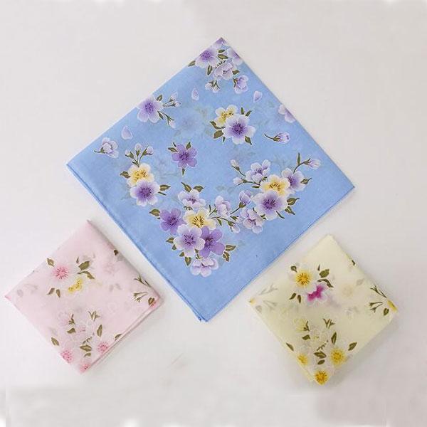 レディース用 ハンカチ タオル 綺麗 可愛い 薄手 オシャレ 綿100% 女の子 花柄