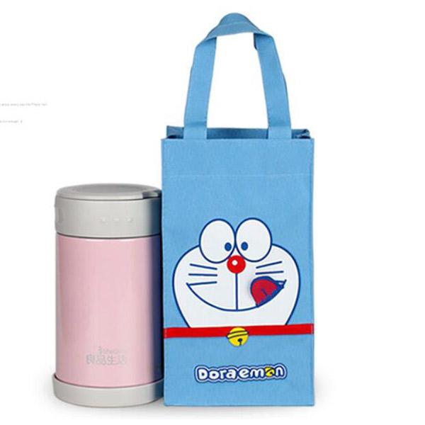 ミニトートバッグ ドラえもん ブルー トモウハンドバッグ製作 ペットボトルカバー 水筒袋 マグボトルカバー 500ml 子供用 学生用