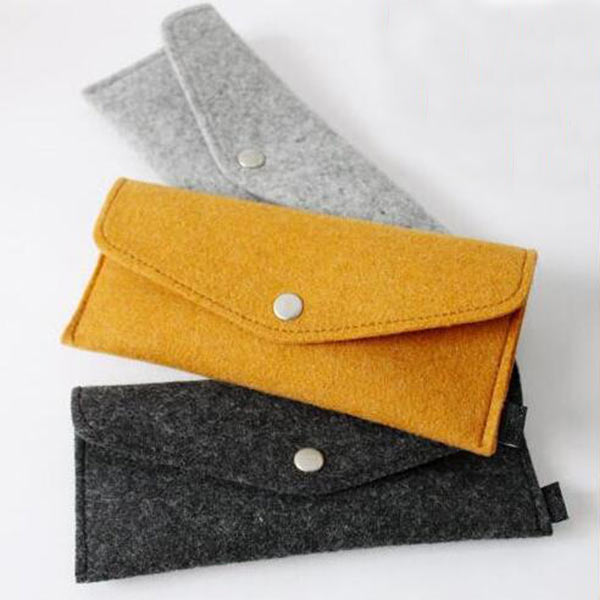 フェルト財布 小物収納 軽いウール製財布 ペンケース カード 小銭入れ 収納ポーチ メイン レディース兼用