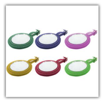 革製ミニミラー 丸型かがみ レッド 携帯便利 プレゼント レディース用 小ロットオリジナル製作対応