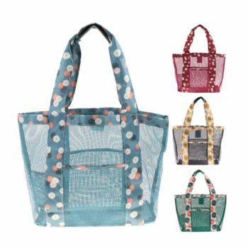 ビーチバッグ 可愛い メッシュバッグ プールバッグ おしゃれ 花柄 手提げ鞄旅行 大きな袋 海水浴 レディース 透明 4色 OEM小ロット製作対応