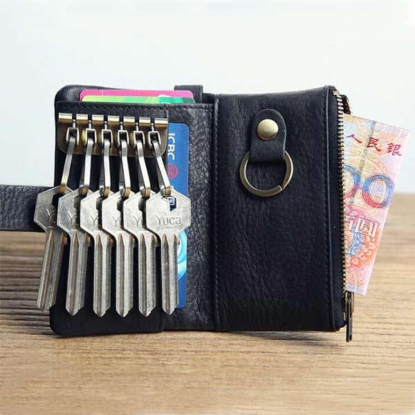 高級本革コインケース 6連 キーケース キーリング 折りたたみ カードケース  コンパクトで薄型
