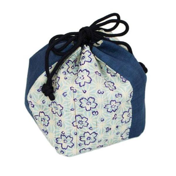 レディース巾着袋 ランチ巾着 麻素材 和柄 浴衣 着物 ガールズ 桜柄 オリジナル安い 小ロット製作対応