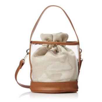 2wayビニール巾着バッグ 筒型 ショルダーバッグ 巾着 鞄 カバン ワンハンドル レディース オリジナル製作対応