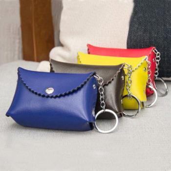 レディース小銭入れ 人気コインケース カードケース 小さい財布 かわいい キーリング付き 4色選択 小ロット製作対応