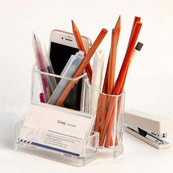 文具収納ボックス ペンケース ペン立て 化粧筆入れ 小物 多機能収納 透明 アクリルケース 名刺収納 OEM製作 小ロットオリジナル仕入れ対応