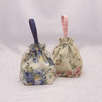 手作り袋 花柄 サブバッグ トラベルパック 女性用 巾着袋