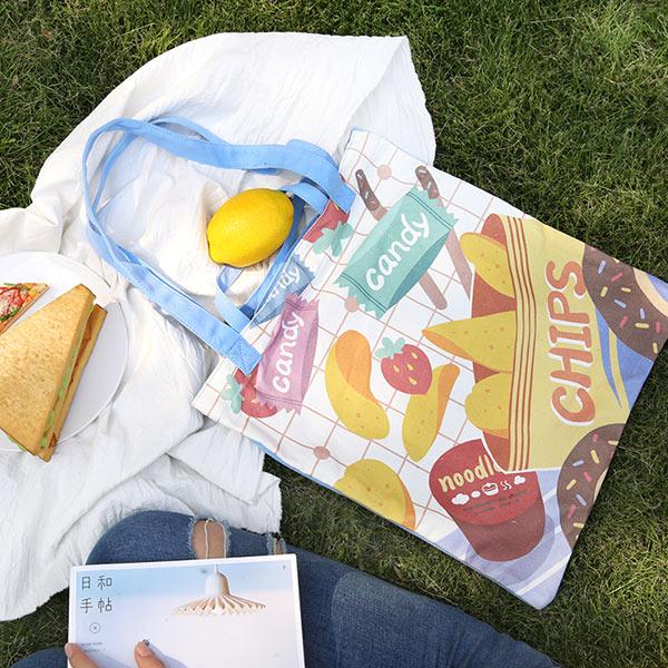 オリジナル イラストバッグ レジャーハンド キャンバス地 軽い 持ちやすい トート