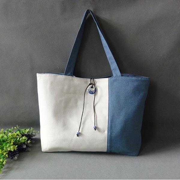 製品洗い キャンバス鞄 手作り帆布カバン オリジナル バッグ 手提げ 大きめ布製カバン