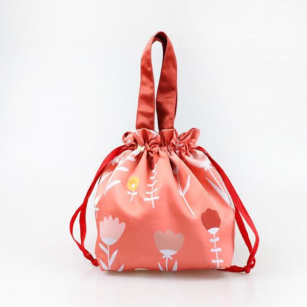 紐弁当バッグ 巾着弁当 オリジナルランチ 巾着収納袋 花柄ポーチ袋