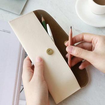 OEMペンケース レッド レザー「トモウ」オリジナル製作 筆箱 文房具 小物 収納