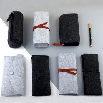 ペンケースOEM フェルト素材 おしゃれ 筆入れ 円柱型 万年筆 巻きペンケース シンプル 軽量化 筆箱 小物入れ 文房具収納  ペンポーチ レディース オフィス用品