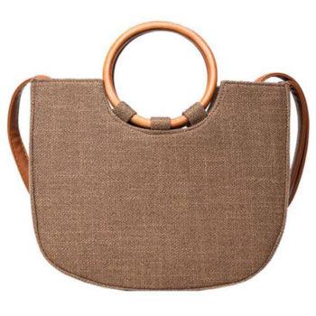 2018新しい女性バッグ 綿麻製 夏 「トモウ」オリジナル製作 木製リングハンドバッグ コットントートバッグ ショルダーバッグ