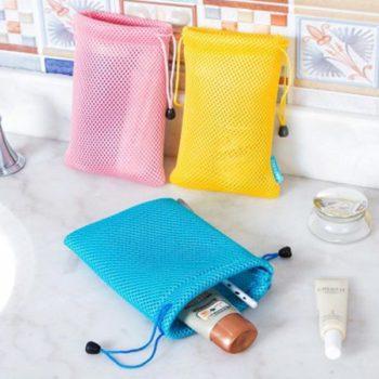 ミニ巾着袋 ブルー「トモウ」オリジナル製作 アクセサリーや小物入れ 収納ポーチ メッシュ巾着バッグ 洗濯可能