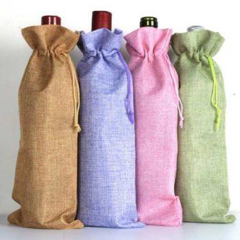 ワイン袋 麻素材 ギフトバッグ「トモウ」オリジナル製作 ワインボトルカバー 装飾巾着袋 小物ポーチ ボトルカバー