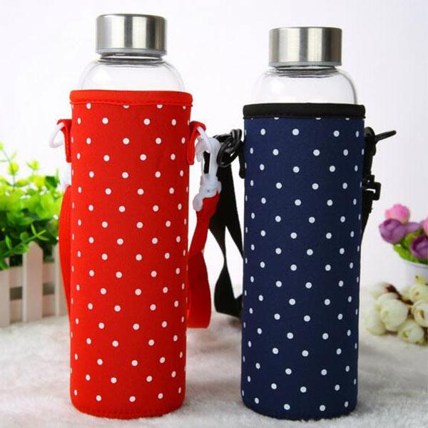 かわいい 水筒カバー レッド 携帯式ボトルカバー トモウオリジナル製作 水筒ケース 調節可能 ショルダーストラップ