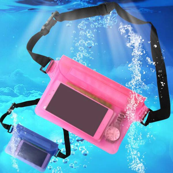 防水ウエストポーチ 3重チャック PVC素材 ピンク プール 海水浴 釣り ウエストバッグ 防水ケース 携帯 男女兼用