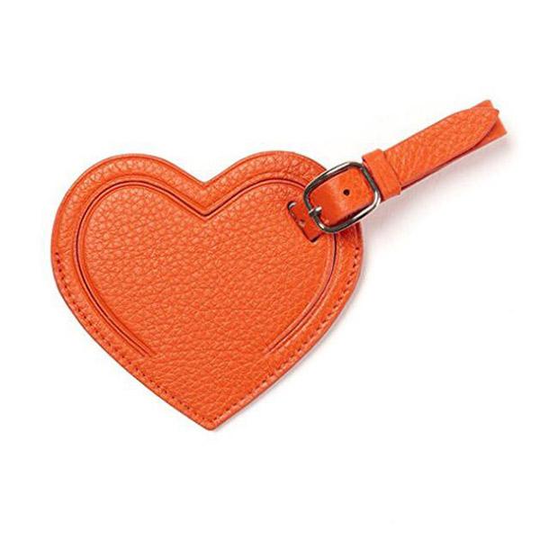 ラゲージタグ トラベル オレンジ ハート型 スーツケースタグ 旅行荷物タグ 安全タグ 名札 ネームタグ PUレザー