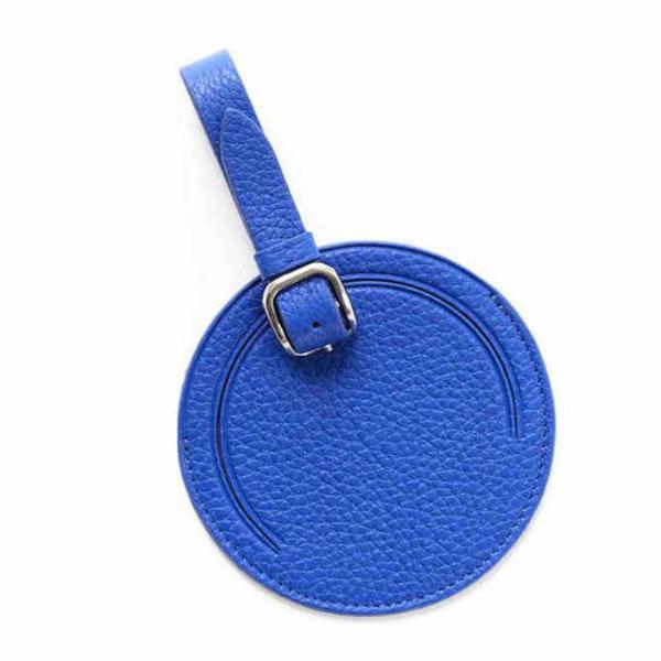 レザーネームタグ 丸形 ブルー 革製 名入れ ゴルフ ネームプレー 旅行荷物タグ 小ロット卸し売り対応