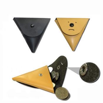 牛革 コインケース イエロー/ブラック 三角 小銭入れ トモウハンドバッグ製作 小ロット仕入れ対応