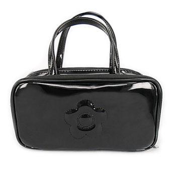 レディース 化粧ポーチ 化粧品収納 ブラック 小物用収納ポーチ ミニ手提げバッグ 小物入れ PUレザー 防水 長持ち 携帯に便利 カワイイ