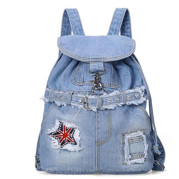 リュックサック リュックバッグ レディース シンプル 通学 通勤 人気 かわいい ブルー 星柄 フック付け 男女兼用